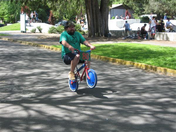 Joe doing a wheelie